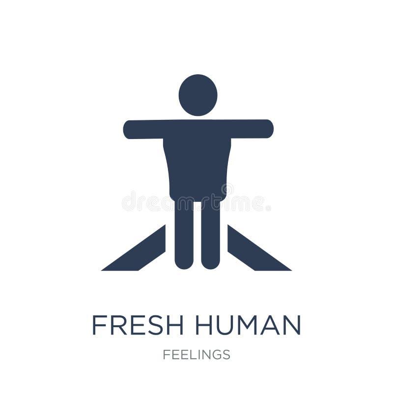 icono humano fresco Icono humano fresco del vector plano de moda en b blanco stock de ilustración