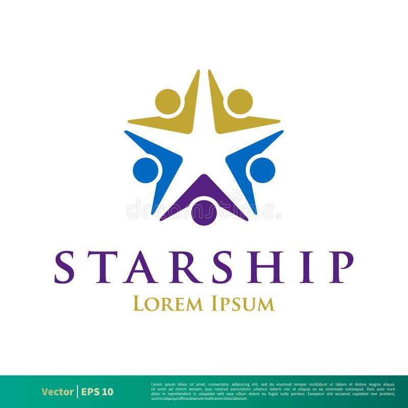 Icono humano Logo Template Illustration Design del vector de la estrella de la forma Vector EPS 10 stock de ilustración
