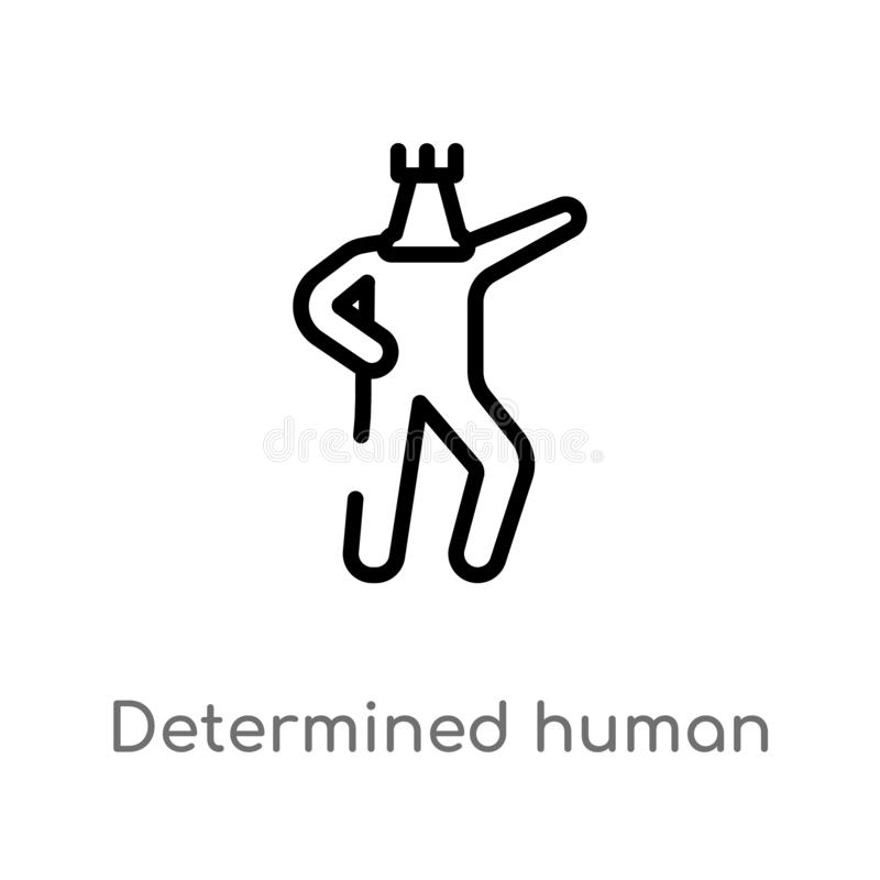 icono humano resuelto del vector del esquema r Vector Editable stock de ilustración