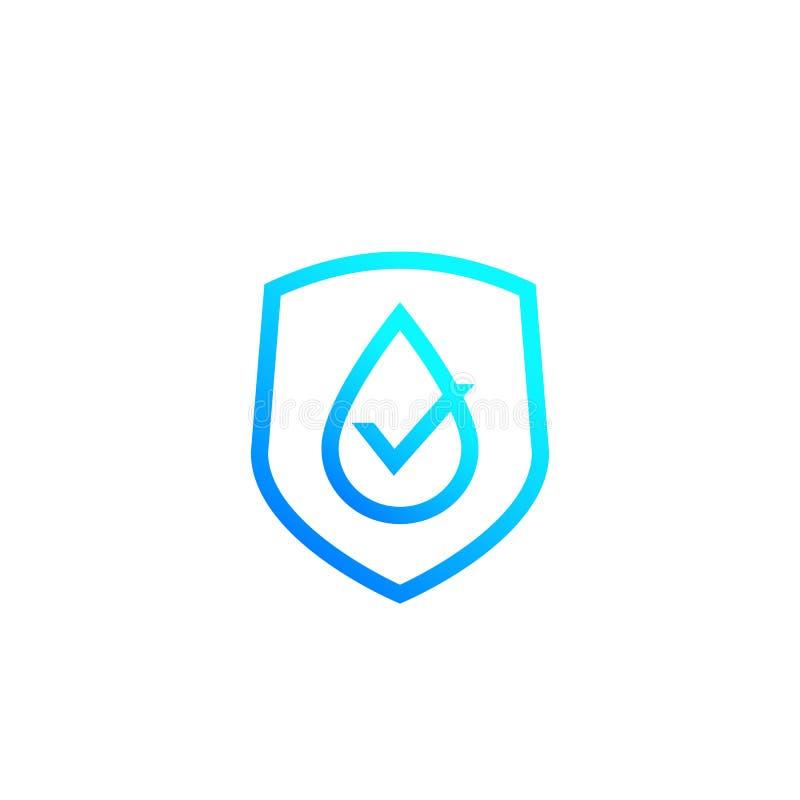 Icono impermeable, etiqueta resistente del vector de agua stock de ilustración