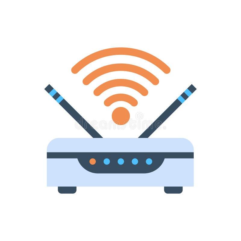 Icono inalámbrico de la conexión a internet del router de Wifi ilustración del vector