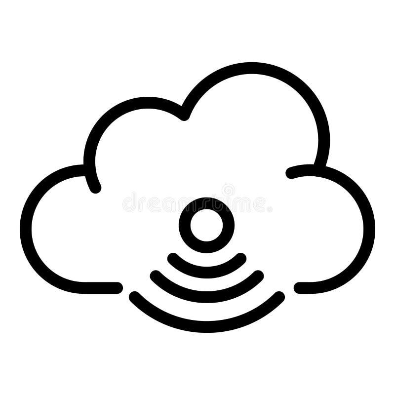 Icono inalámbrico de las tecnologías de la nube, estilo del esquema stock de ilustración