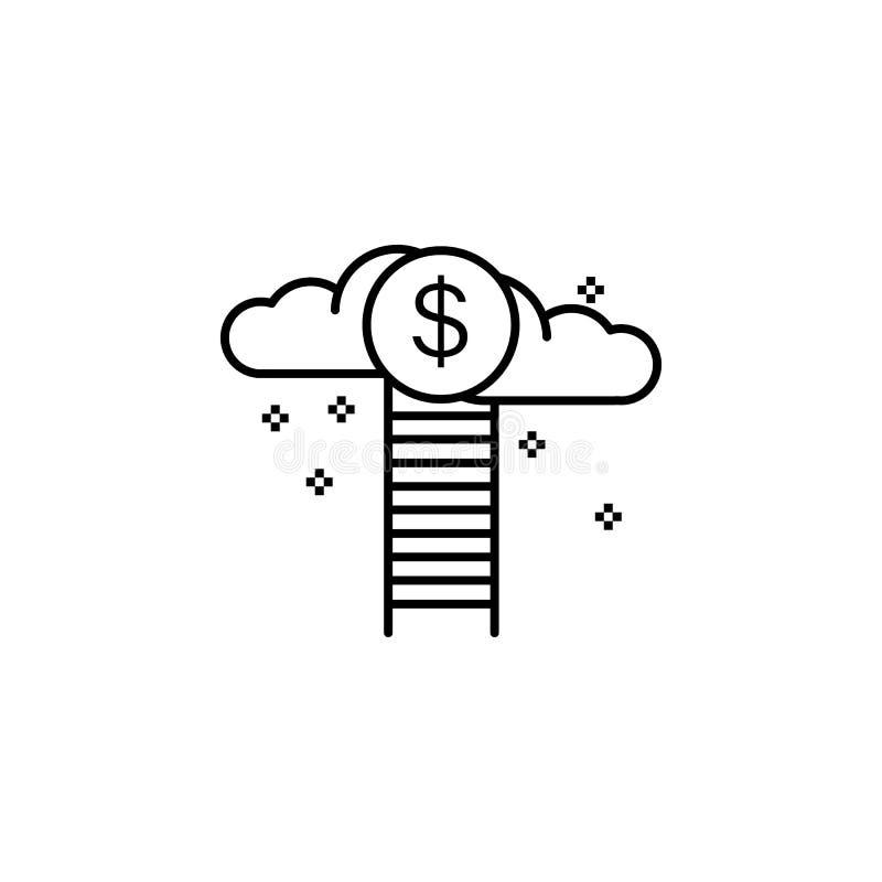 Icono incentivo de la motivación del dólar de la nube Elemento de la línea icono de la motivación del negocio libre illustration
