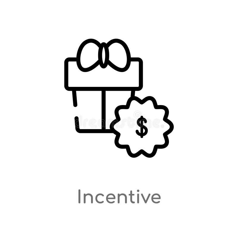 icono incentivo del vector del esquema l?nea simple negra aislada ejemplo del elemento del concepto de la interfaz de usuario Mov libre illustration