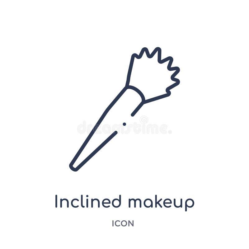 Icono inclinado linear del cepillo del maquillaje de la colección del esquema de la belleza La línea fina inclinó vector del cepi ilustración del vector