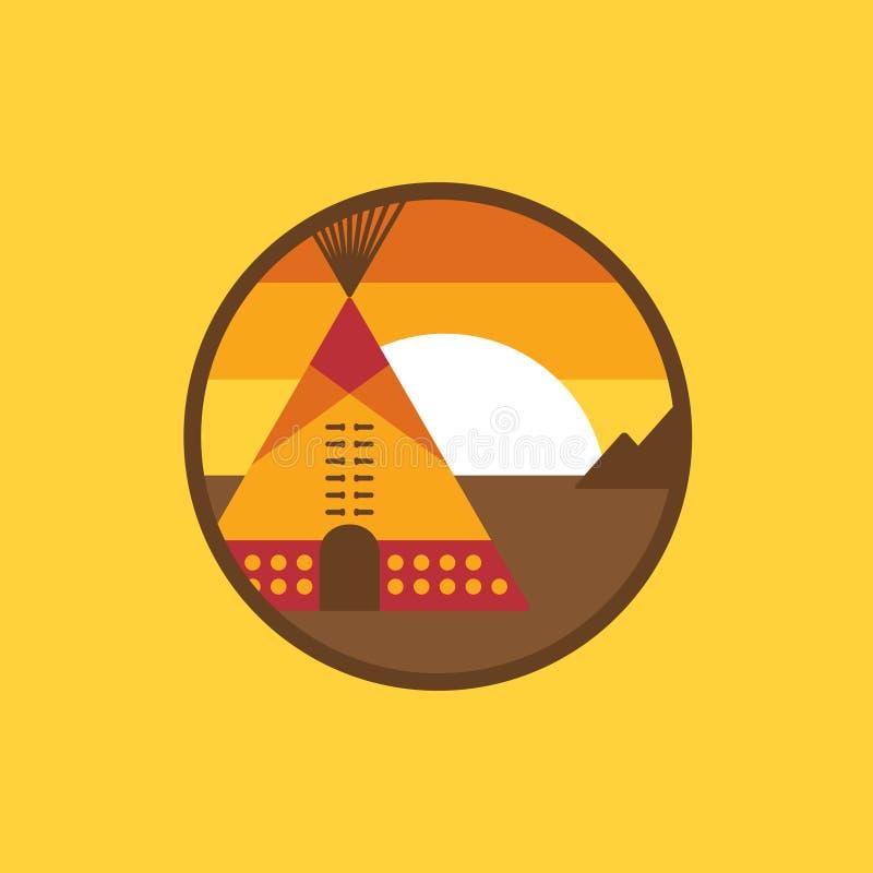 Icono indio americano del tipi stock de ilustración