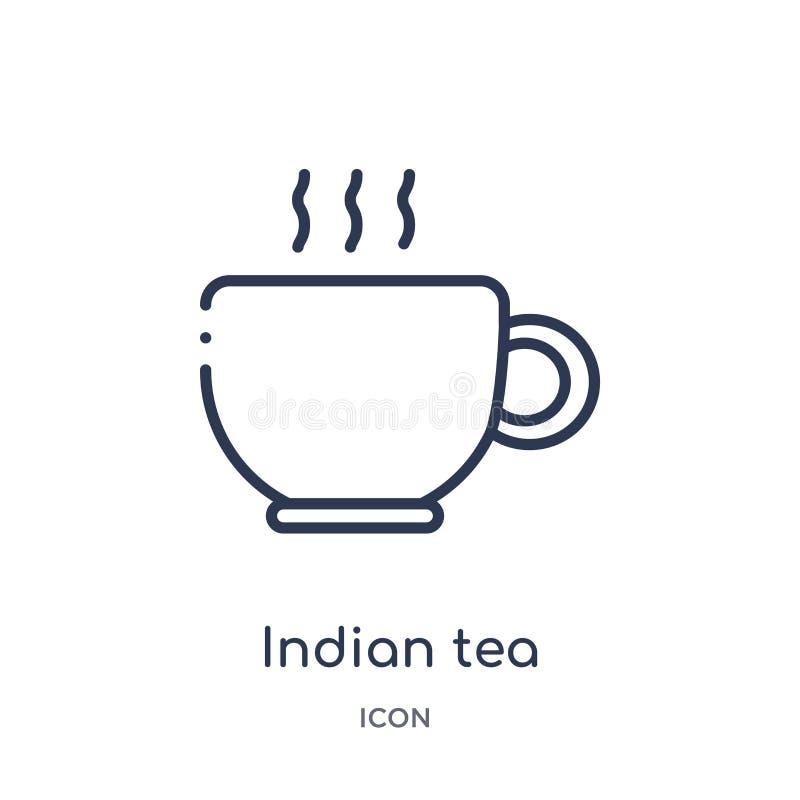 Icono indio linear del té de la colección del esquema de la India Línea fina icono indio del té aislado en el fondo blanco té ind ilustración del vector