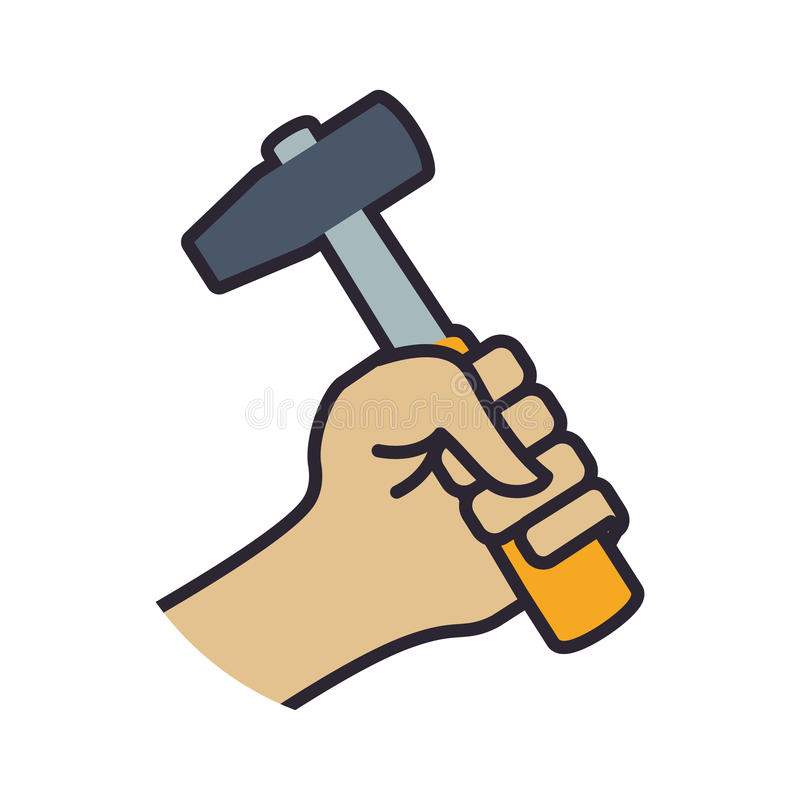 Icono industrial de la construcción de la reparación de la herramienta del martillo Gráfico de vector ilustración del vector