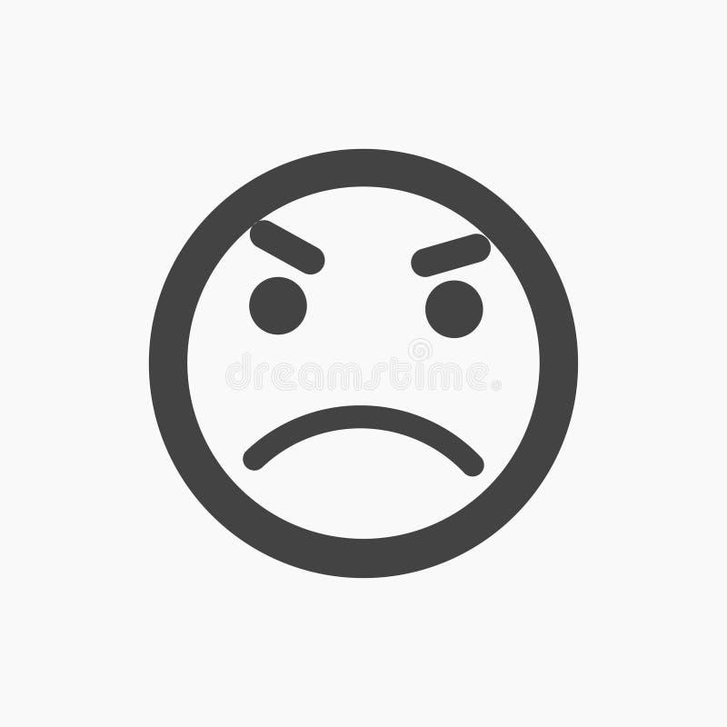 Icono infeliz, negativo, enojado del emoji stock de ilustración