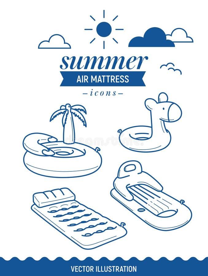 Icono inflable del colchón de aire Icono del esquema del verano fijado con las nubes Palmera, isla y colchón simple retro básico foto de archivo libre de regalías