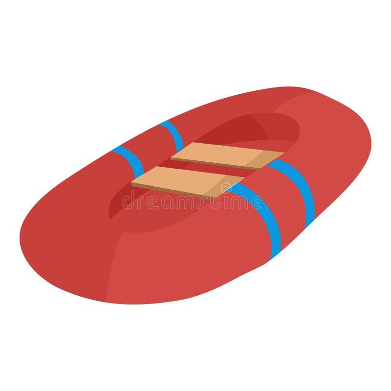 Icono inflable rojo del barco, estilo de la historieta libre illustration