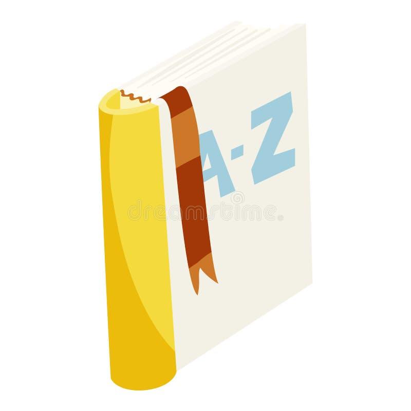 Icono inglés del libro del diccionario, estilo de la historieta ilustración del vector