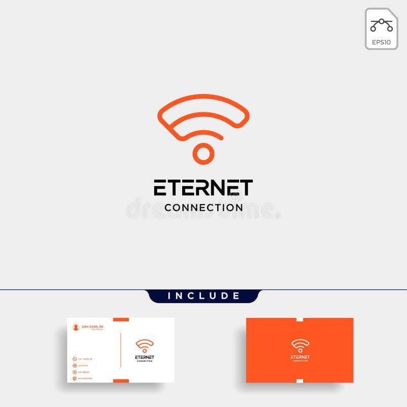 icono inicial del símbolo de la red del wifi del vector del diseño del logotipo de Internet de e stock de ilustración