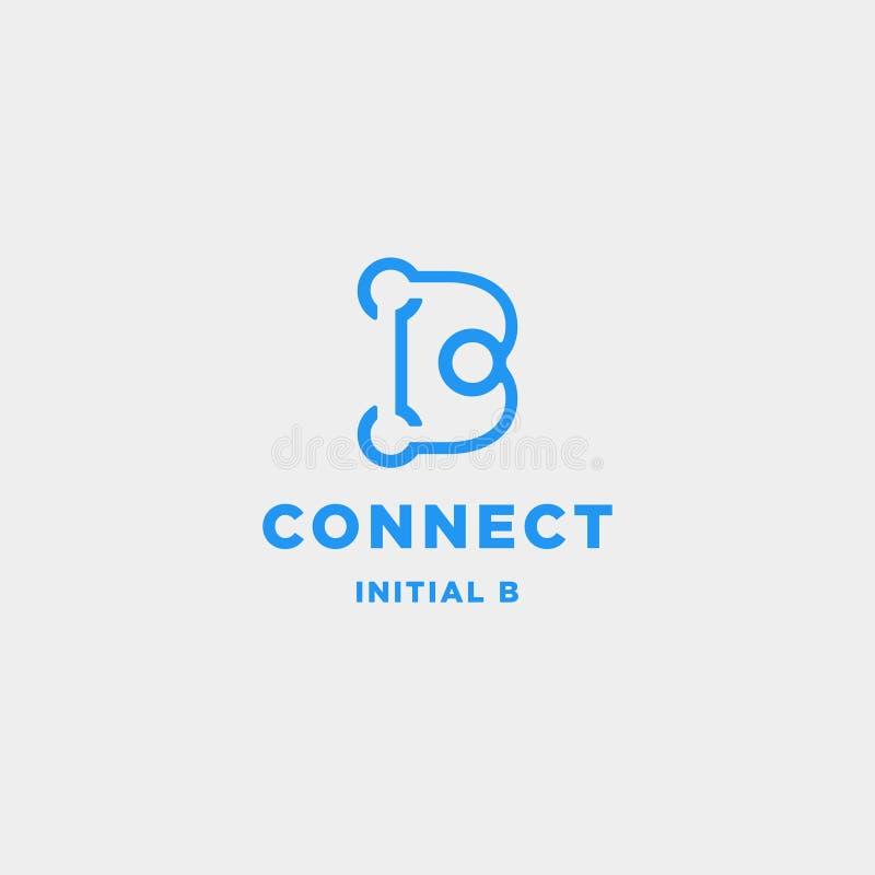 icono inicial del símbolo de la tecnología de diseño del logotipo de la conexión de b ilustración del vector