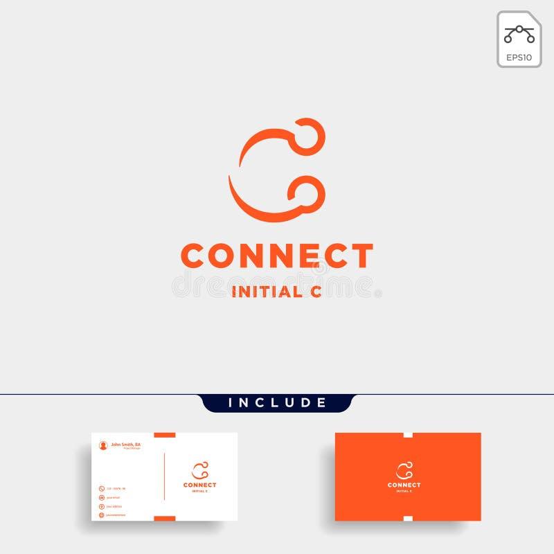 icono inicial del símbolo de la tecnología de diseño del logotipo de la conexión de c stock de ilustración