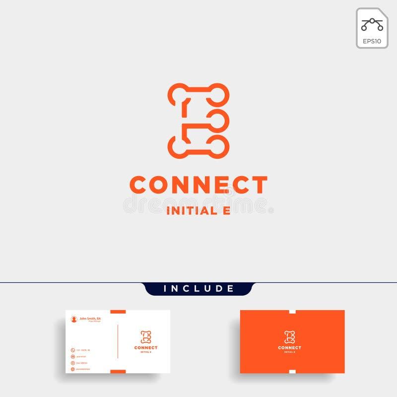 icono inicial del símbolo de la tecnología de diseño del logotipo de la conexión de e stock de ilustración