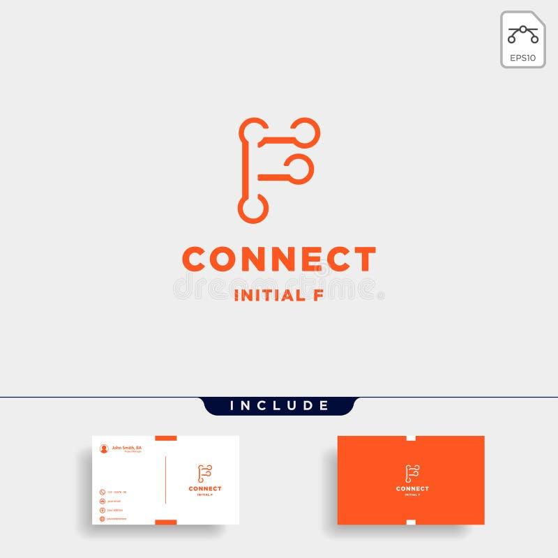 icono inicial del símbolo de la tecnología de diseño del logotipo de la conexión de f stock de ilustración