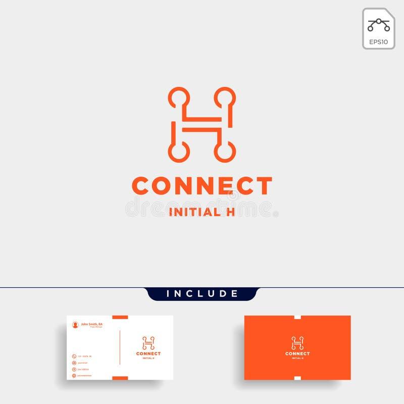 icono inicial del símbolo de la tecnología de diseño del logotipo de la conexión de h stock de ilustración