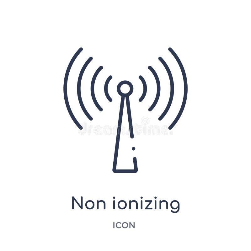 Icono inionizante linear de la radiación de la salud y de la colección médica del esquema Línea fina icono inionizante de la radi libre illustration