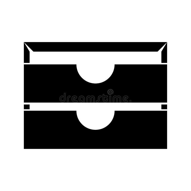 Icono inmóvil del negro de la bandeja del papel dos libre illustration