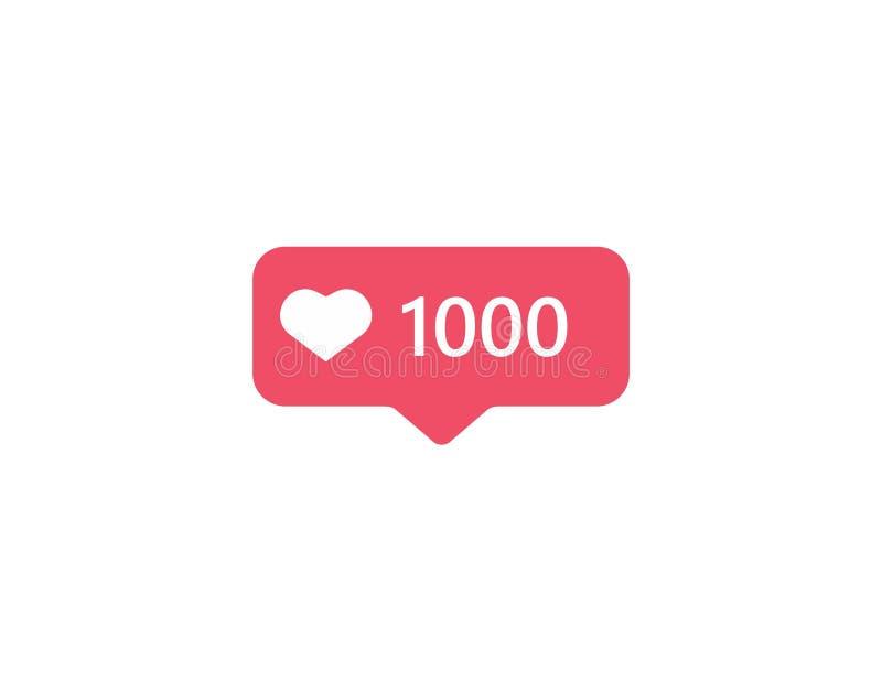 Icono Instagram de la notificación El seguidor 1000 le gusta el ui del instagram, app, iphone ilustración del vector