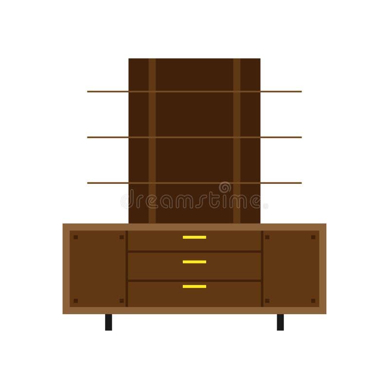Icono interior aislado gabinete del vector del archivo del almacenamiento del documento del sistema del cajón de la oficina Muebl ilustración del vector