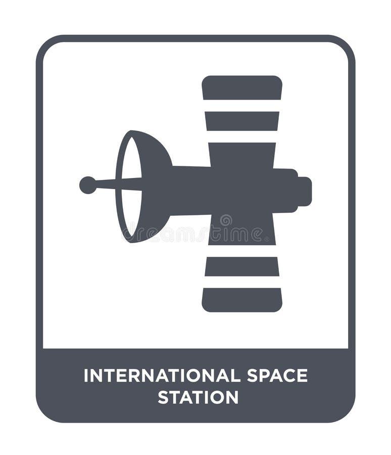 icono internacional de la estación espacial en estilo de moda del diseño icono internacional de la estación espacial aislado en e stock de ilustración