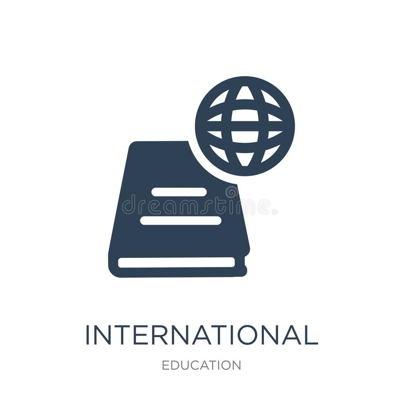 icono internacional de los estudios en estilo de moda del diseño icono internacional de los estudios aislado en el fondo blanco E stock de ilustración