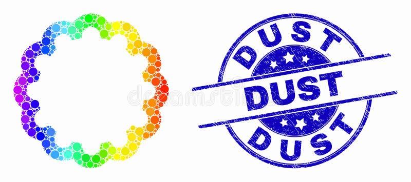 Icono interno punteado coloreado arco iris del engranaje del vector y sello rasguñado del polvo stock de ilustración