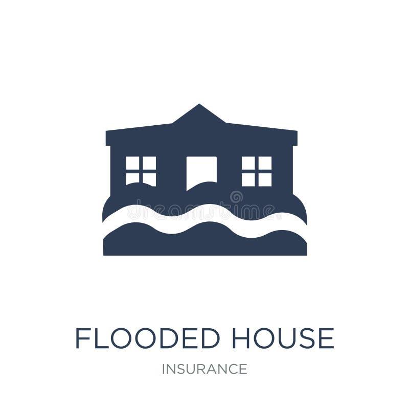 Icono inundado de la casa Icono inundado vector plano de moda de la casa en whi ilustración del vector