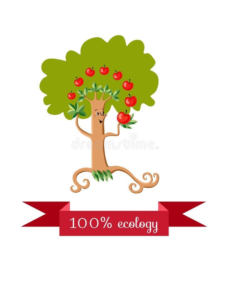 Icono inusual de la ecología Feliz manzano fabuloso, fruta que hace juegos malabares en el fondo blanco ilustración del vector