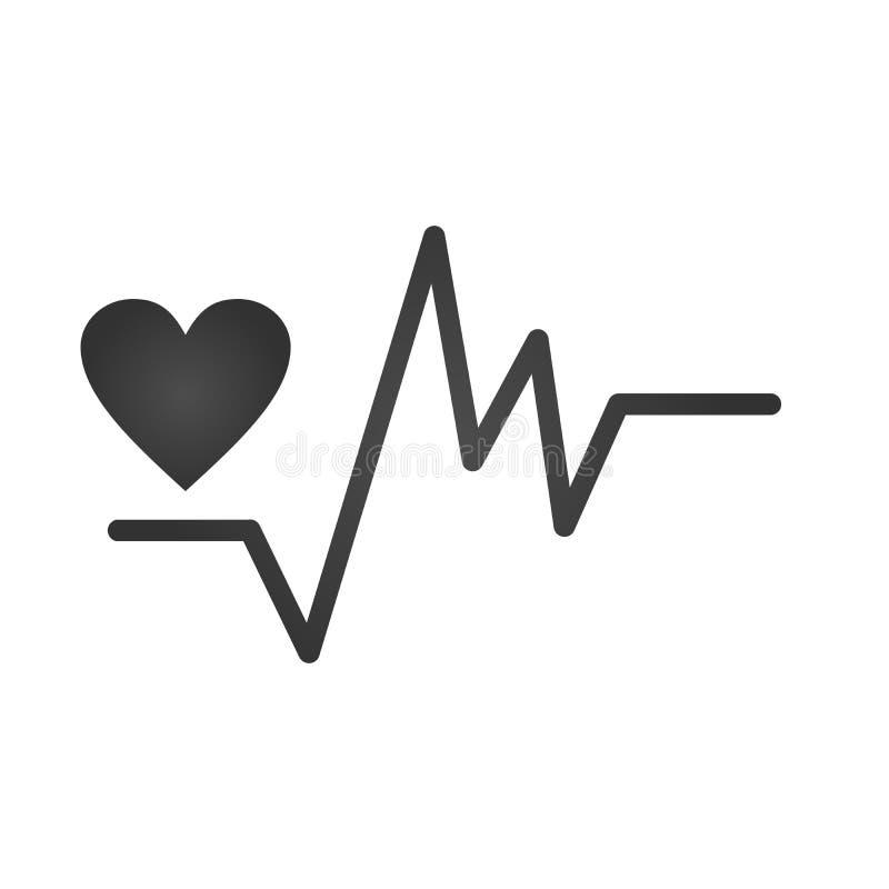 Icono irregular gris del latido del corazón y del corazón Muestra o carta del latido del corazón en diseño plano Ilustración del  libre illustration
