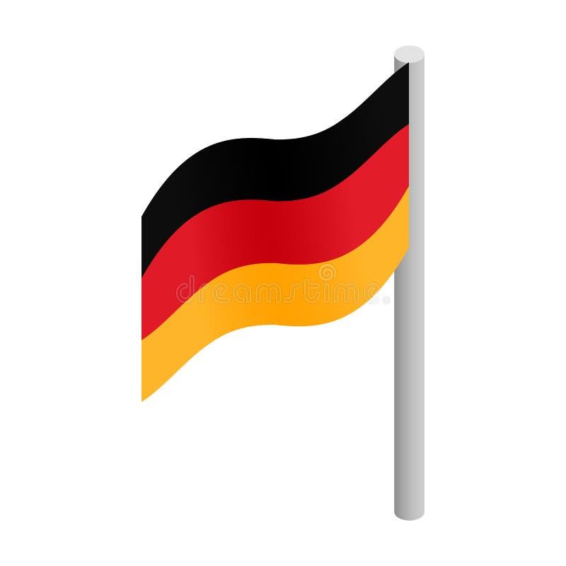 Icono isométrico 3d de la bandera de Alemania stock de ilustración