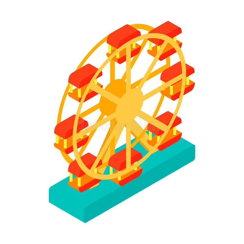 Icono isométrico 3d de la noria ilustración del vector