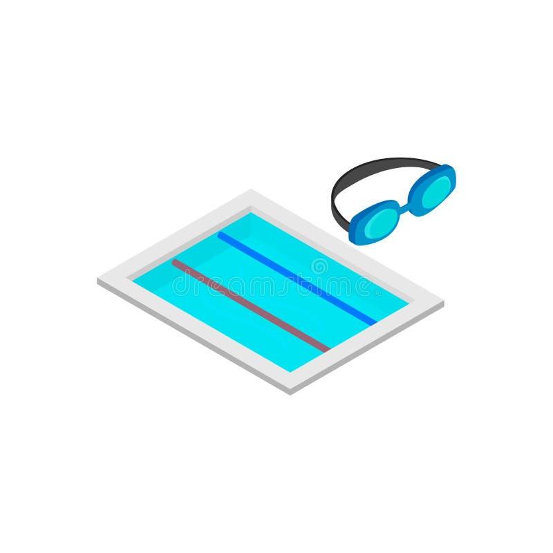 Icono isométrico 3d de la pista de la natación stock de ilustración