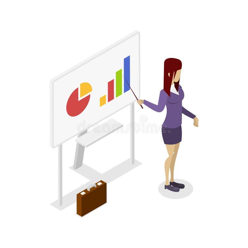 Icono isométrico 3D de la presentación del negocio ilustración del vector