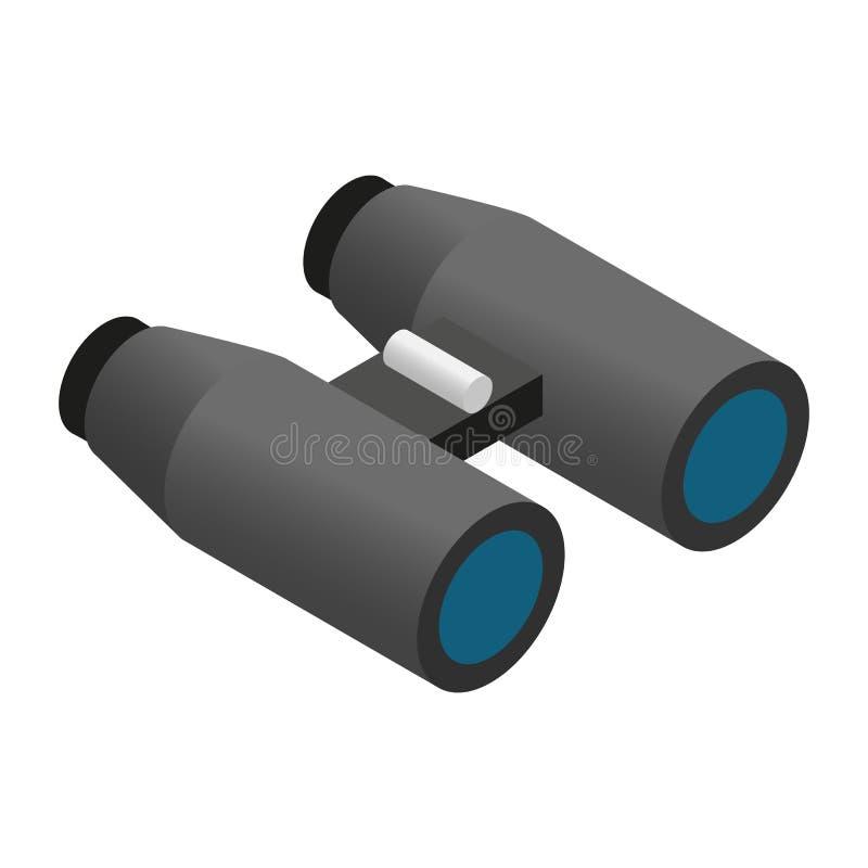 Icono isométrico 3d de los prismáticos stock de ilustración