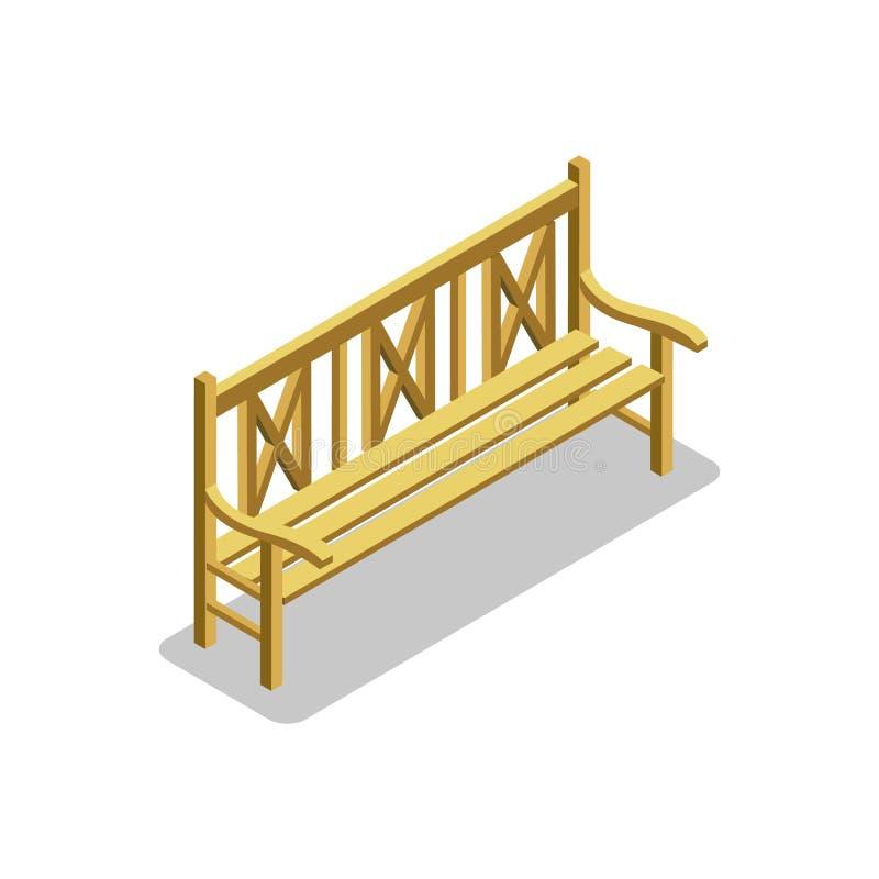 Icono Isométrico 3D Del Banco De Madera Del Parque Ilustración del ...