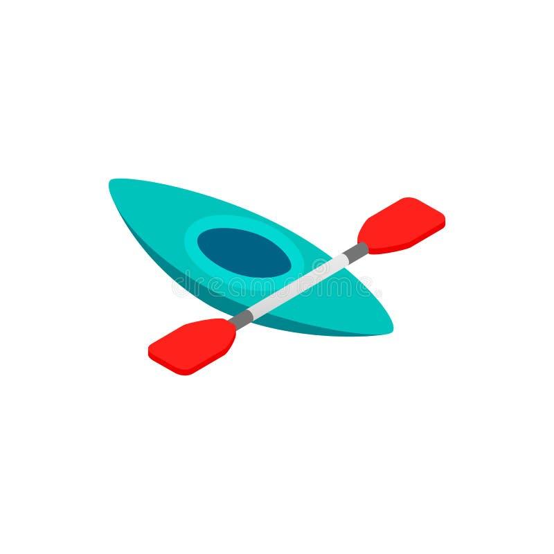 Icono isométrico 3d del solo kajak stock de ilustración
