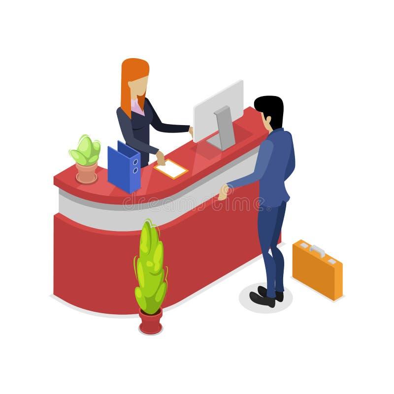 Icono isométrico 3D del soporte de la recepción de la compañía stock de ilustración