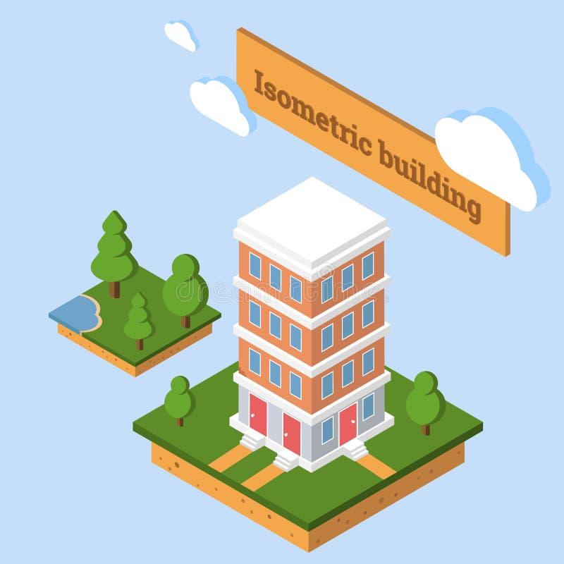 icono isométrico 3d o elemento infographic que representa la construcción de viviendas polivinílica baja de la ciudad stock de ilustración