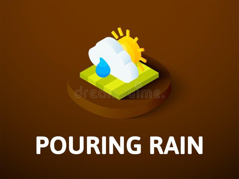 Icono isométrico de colada de la lluvia, aislado en fondo del color libre illustration
