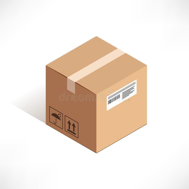 Icono isométrico de la caja de la entrega ilustración del vector
