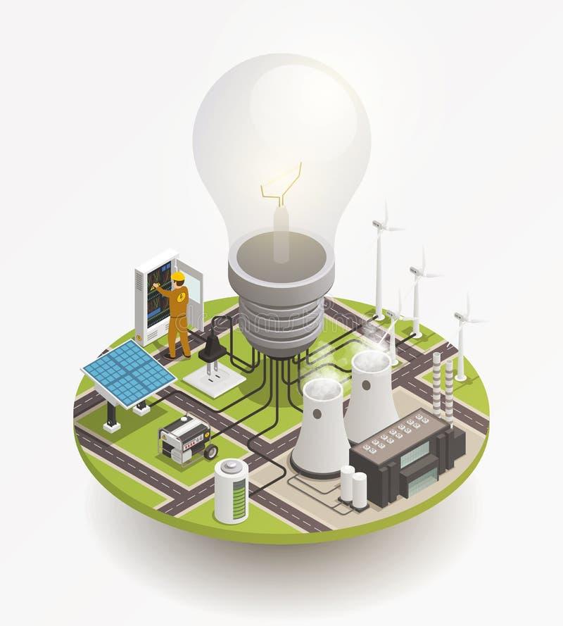 Icono isométrico de la composición de Electric Power stock de ilustración