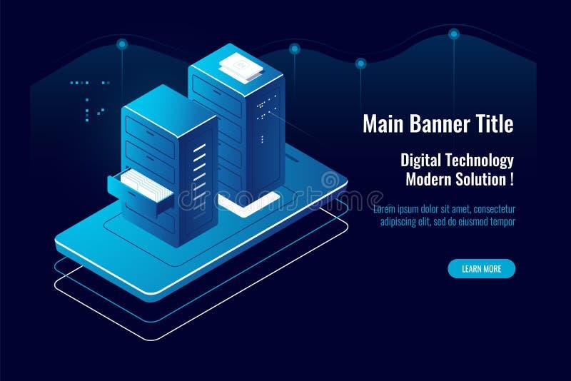 Icono isométrico de la gestión de documentos en línea, aplicación móvil, acceso a archivos de la nube, proveedor de alojamiento,  libre illustration