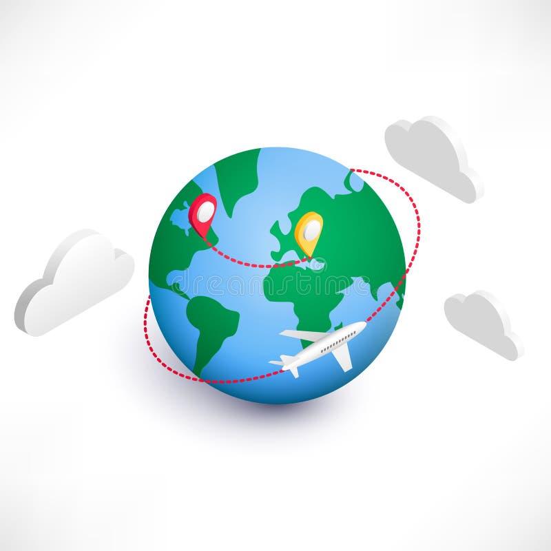 Icono isométrico de la logística global ilustración del vector