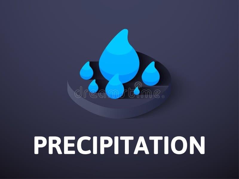 Icono isométrico de la precipitación, aislado en fondo del color libre illustration
