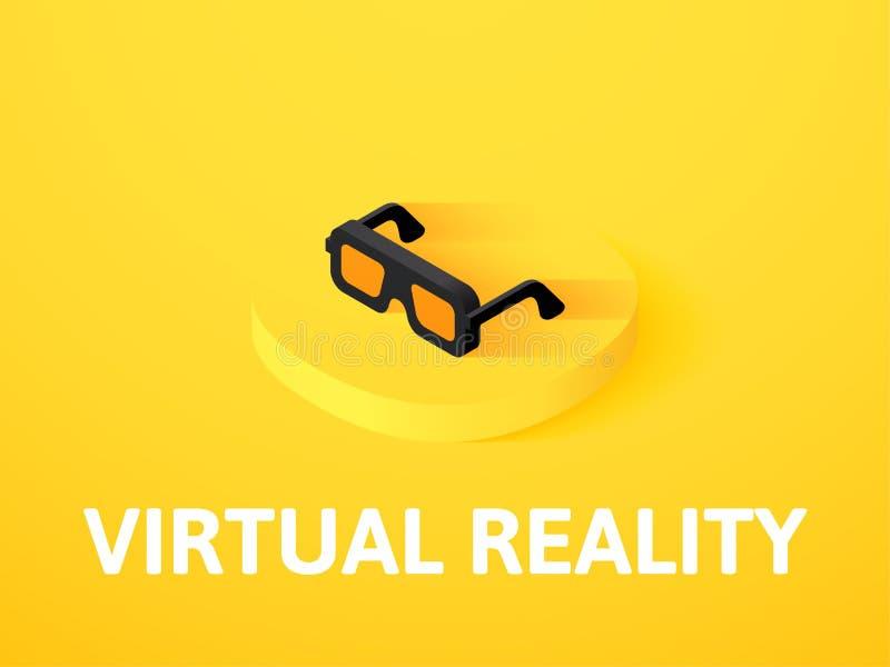 Icono isométrico de la realidad virtual, aislado en fondo del color libre illustration