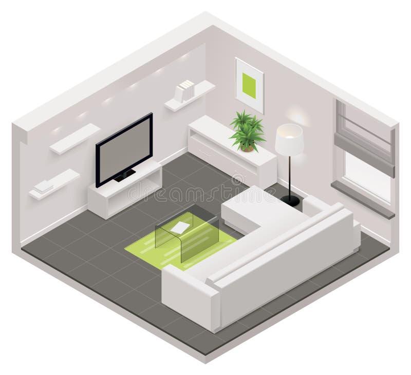 Icono isométrico de la sala de estar del vector stock de ilustración