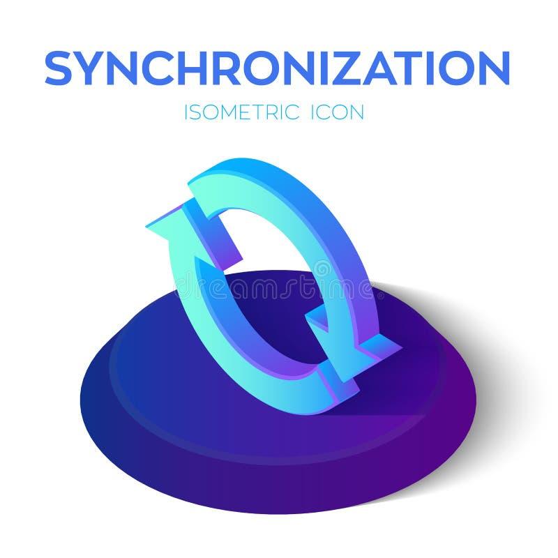 Icono isométrico de la sincronización muestra isométrica de la sincronización 3D Restaure el icono Creado para el móvil, web, dec stock de ilustración